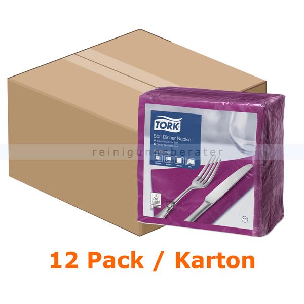 SCA Tork 477775 Soft Lunchserviette 39x39 cm violett 3-lagig, 12 x 100 Stück/Karton