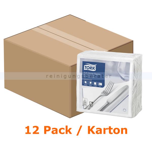 SCA Tork 477577 Soft Dinnerservietten 39 x 39 cm weiß 3-lagig, 12 x 100 Stück/Karton