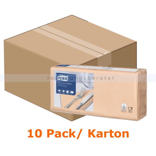 SCA Tork 477863 Soft Lunchservietten 33 x 33 cm apricot 3-lagig, 10 x 150 Stück/Karton