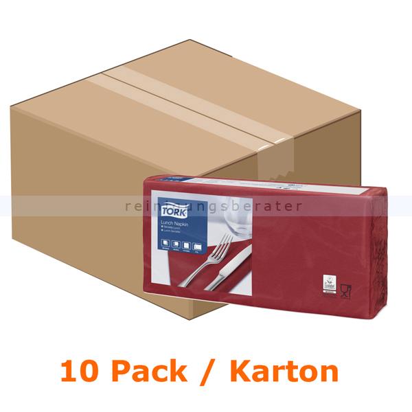 SCA Tork 477213 Soft Lunchservietten 33 x 33 cm bordeaux 2-lagig, 10 x 200 Stück/Karton