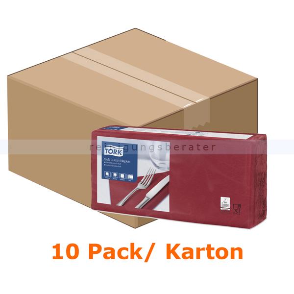 SCA Tork 477411 Soft Lunchservietten 33 x 33 cm bordeaux 3-lagig, 10 x 150 Stück/Karton