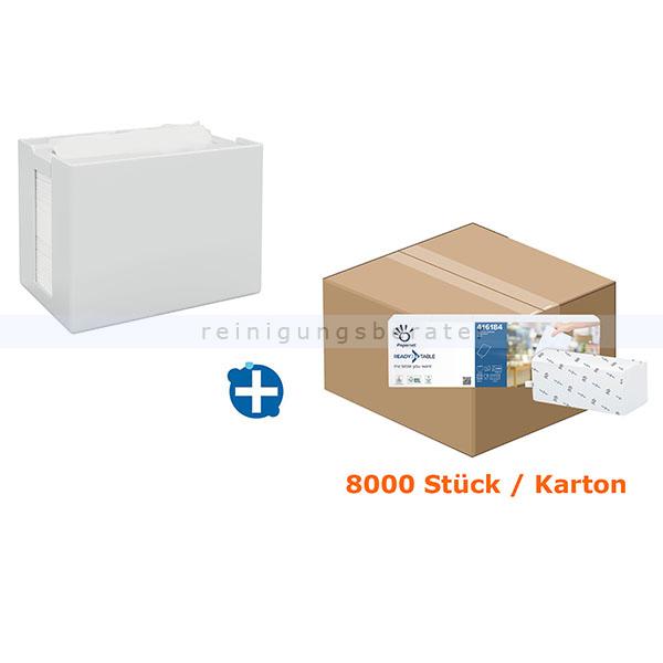 Ready Table Serviettenspender SET Papernet Basic 13 weiß Spender, weiß + 40 Pack a 200 Stk. INTERFOLD Servietten 417194 + 416184