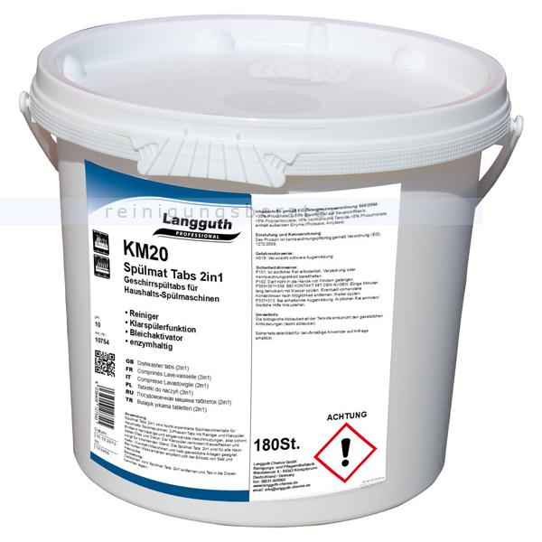 Langguth KM20 Spülmat 180 Stk. im Eimer Spülmaschinentabs 2-in-1-Tabs für Haushalts-Spülmaschinen 10754