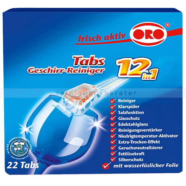 Oro frisch-aktiv 12-in-1 Tabs, wasserlösliche Folie 22 Stk. in wasserlöslicher Folie einzeln verpackt 5028