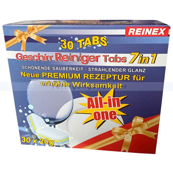 Spülmaschinentabs Reinex Geschirr-Reiniger-Tabs 7 in 1 20 Gramm 30 Tabs, Neue Premium Rezeptur All in One 13842