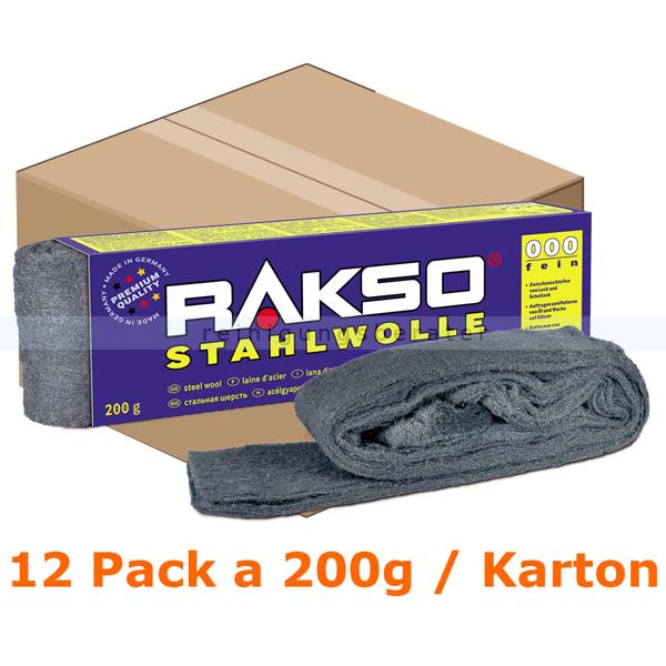 Stahlwolle Rakso Sortenreine Stahlwollebänder 000 fein Karton Karton mit 12 Pack a 200g je Pack, aus 1 a-Gütestahl 0106 06