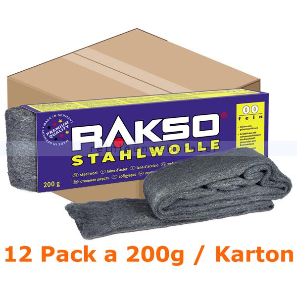 Stahlwolle Rakso Sortenreine Stahlwollebänder 00 fein Karton Karton mit 12 Pack a 200g je Pack, aus 1 a-Gütestahl 0107 06