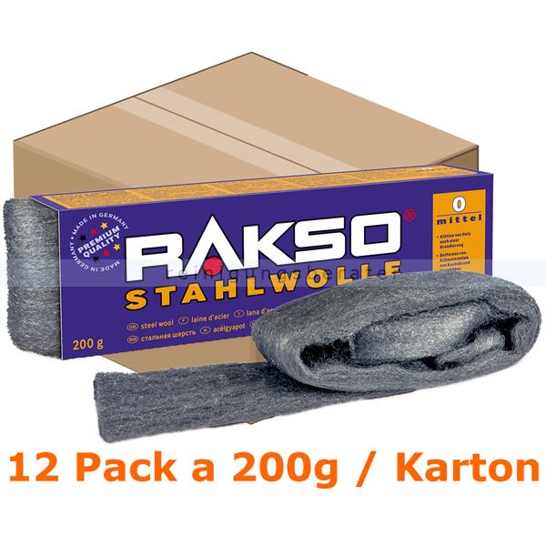 Stahlwolle Rakso Sortenreine Stahlwollebänder 0 mittel Karton Karton mit 12 Pack a 200g je Pack, aus 1 a-Gütestahl 0100 06