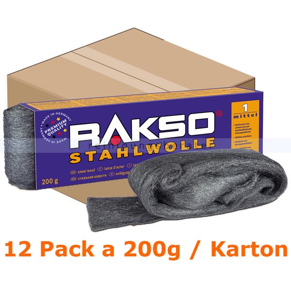 Stahlwolle Rakso Sortenreine Stahlwollebänder 1 mittel Karton Karton mit 12 Pack a 200g je Pack, aus 1 a-Gütestahl 0101 06