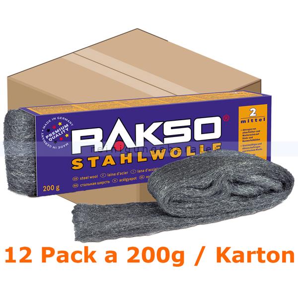 Stahlwolle Rakso Sortenreine Stahlwollebänder 2 mittel Karton Karton mit 12 Pack a 200g je Pack, aus 1 a-Gütestahl 0102 06