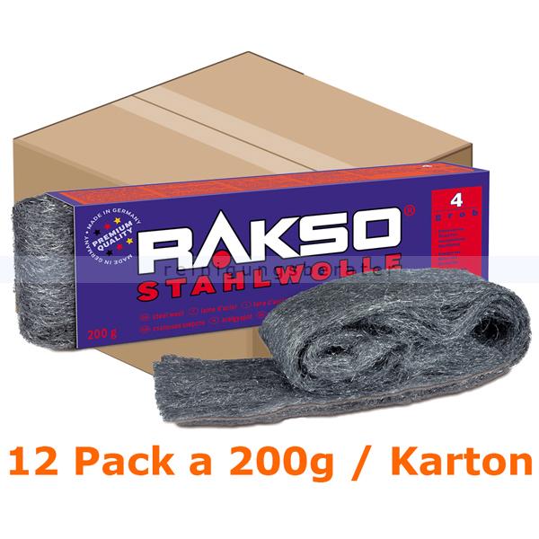 Stahlwolle Rakso Sortenreine Stahlwollebänder 4 grob Karton Karton mit 12 Pack a 200g je Pack, aus 1 a-Gütestahl 0104 06