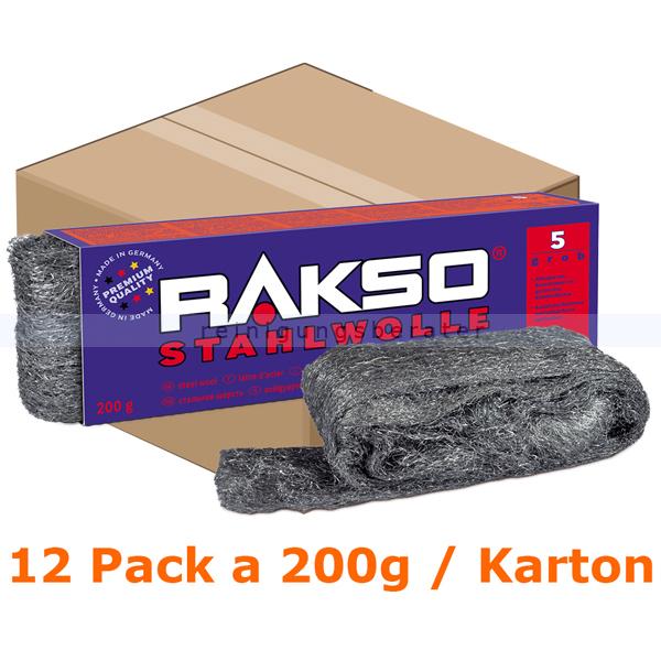 Stahlwolle Rakso Sortenreine Stahlwollebänder 5 grob Karton Karton mit 12 Pack a 200g je Pack, aus 1 a-Gütestahl 0105 06