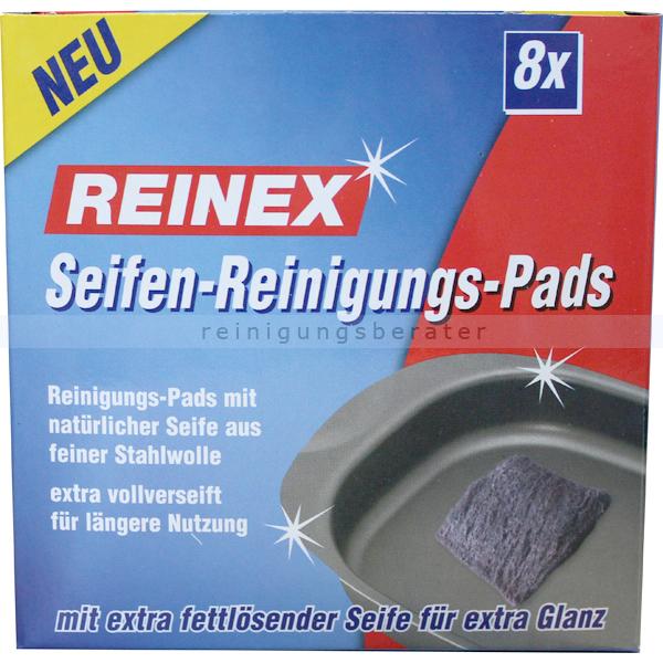 Stahlwolle Reinex Reinigungspad, verseift Aus Stahlwolle mit fettlösender Seife, 8er-Pack 1033