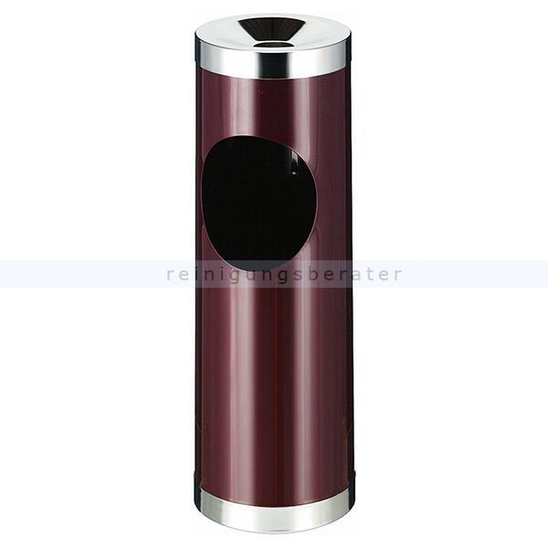 ReinigungsBerater Standascher 30 L bordeaux rot metallener Ascher-Papierkorb 31007998