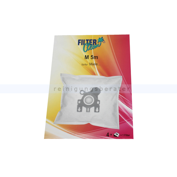 staubsaugerbeutel filterclean vliesfilterbeutel m 5m 4 st. Black Bedroom Furniture Sets. Home Design Ideas