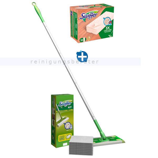 Procter and Gamble Swiffer Starter Kit SET mit Spezialtücher für Holz & Parkett Stiel 1,20 m, 8 Trockentücher, 18 Holztücher, Wischer 25 cm SW9871