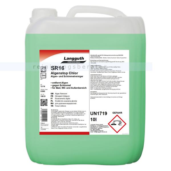 Langguth SR16 Algen Stop 12 kg Steinreiniger chlorhaltiger Algenentferner & Schimmelentferner 10019
