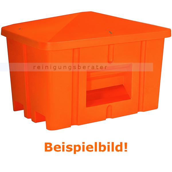 Streugutbehälter Salzkontor Heilbronn mit Auslauf orange 550 L