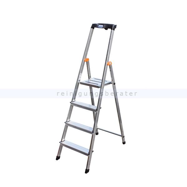 Stufen Stehleiter Krause Safety Aluminium 4 Stufen hoher Sicherheits-Bügel und große rutschsicherer Plattform 126320