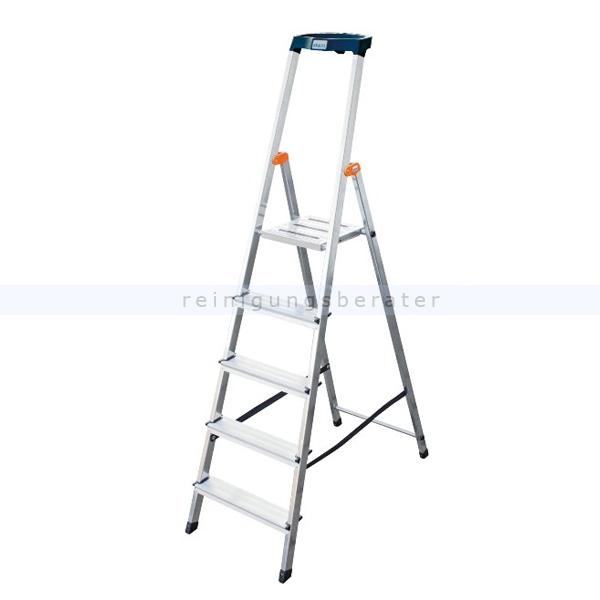Stufen Stehleiter Krause Safety Aluminium 5 Stufen hoher Sicherheits-Bügel und große rutschsicherer Plattform 126337