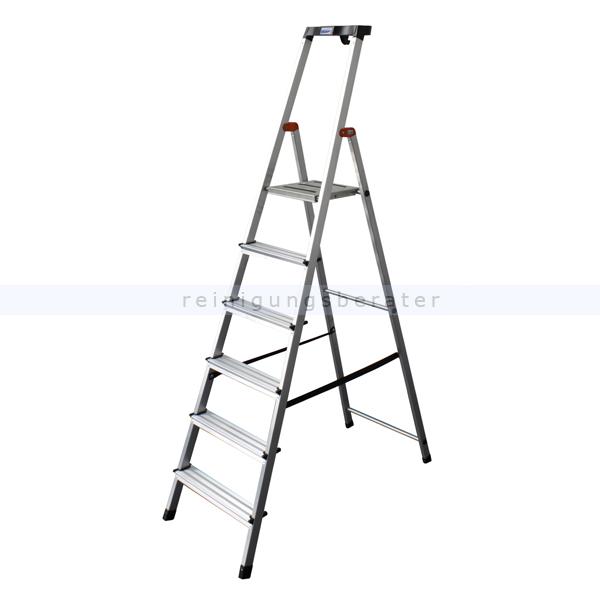 Stufen Stehleiter Krause Safety Aluminium 6 Stufen hoher Sicherheits-Bügel und große rutschsicherer Plattform 126344