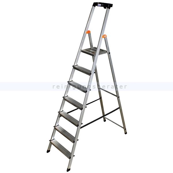 Stufen Stehleiter Krause Safety Aluminium 7 Stufen hoher Sicherheits-Bügel und große rutschsicherer Plattform 126351