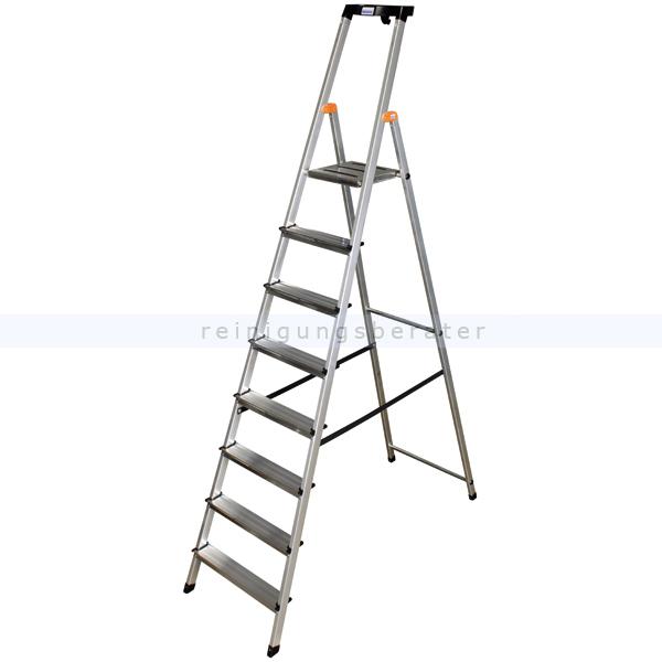 Stufen Stehleiter Krause Safety Aluminium 8 Stufen hoher Sicherheits-Bügel und große rutschsicherer Plattform 126368