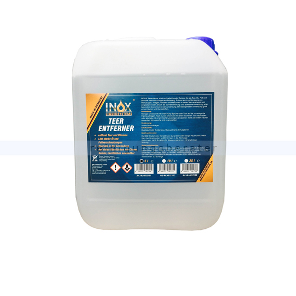 Teerentferner Inox Bitumen- und Teer-Entferner 5 L Reiniger für alle Teer, Öl, Fett & ähnliche Verschmutzungen 4012101