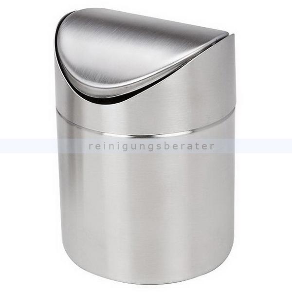 Tischabfalleimer Easybin 1,5 L Silber Metall mit Schwingdeckel