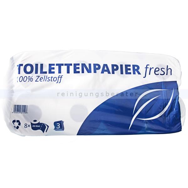 Toilettenpapier 3-lagig Hochweiß aus Zellstoff 8 Rollen