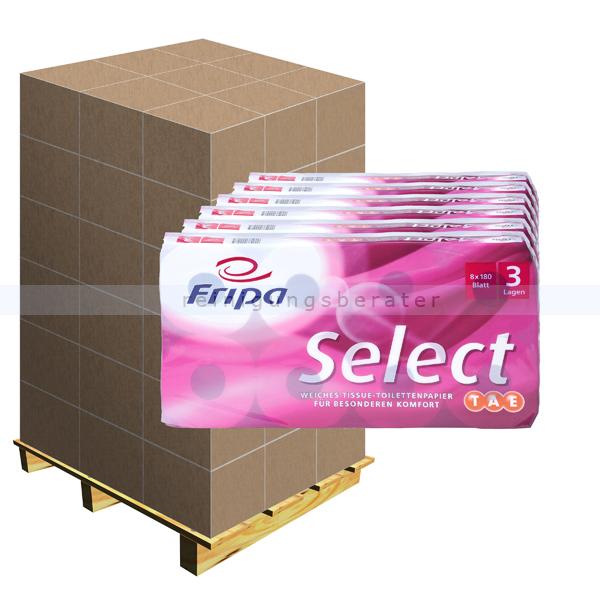 Toilettenpapier Fripa Select TAE Tissue hochweiß Palette 1056 Rollen/Paket x 180 Blatt, Klopapier 3-lagig