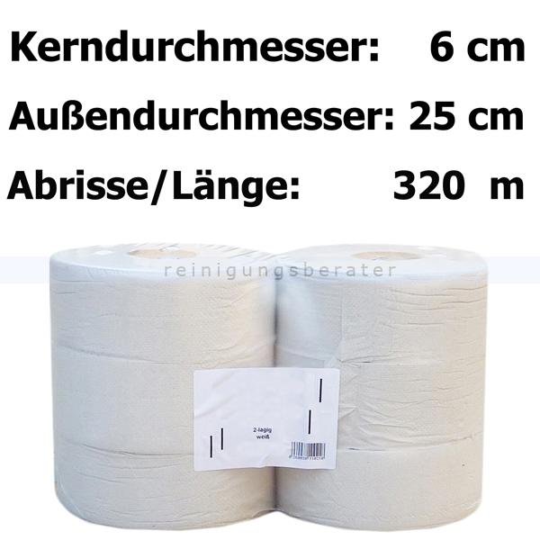 Toilettenpapier Großrolle naturweiß 2-lagig
