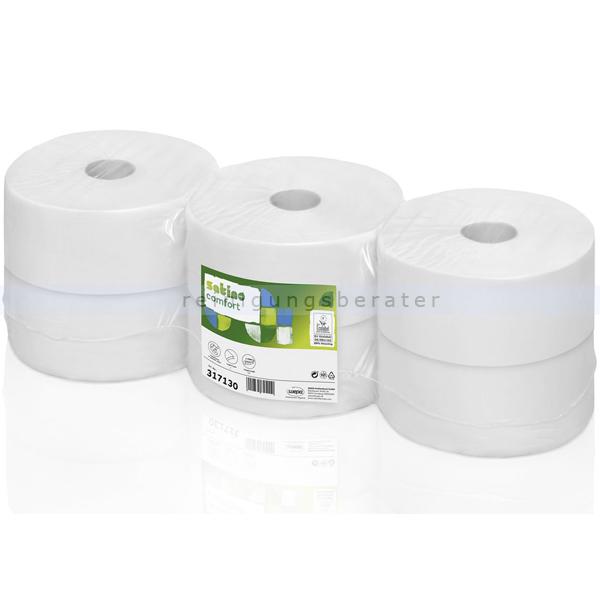Toilettenpapier Großrolle Wepa Satino weiß 2-lagig 6 Rollen/Paket a 1520 Abrisse, 380 m, 9,2 x 25 cm 317131