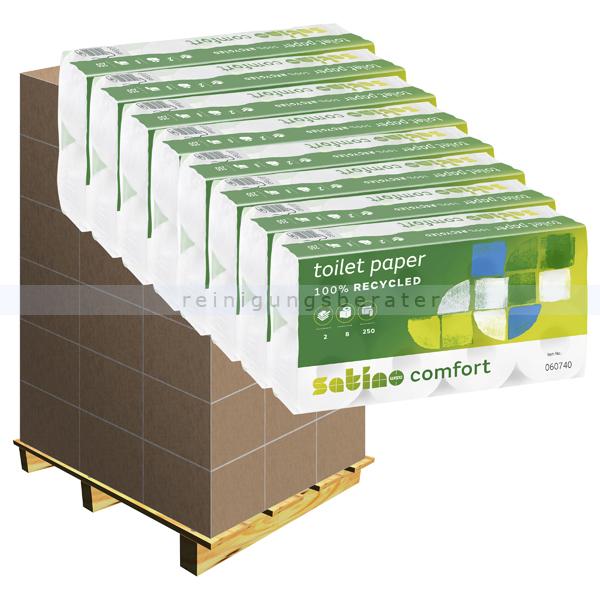 Toilettenpapier Wepa Satino Comfort hochweiß 2-lagig Palette