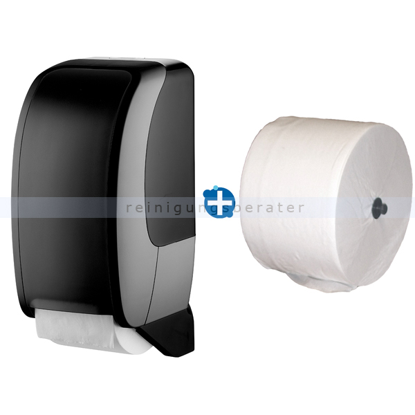Toilettenrollenhalter JM Metzger Cosmos schwarz im Set inklusive Toilettenpapier JM Metzger Cosmos 2-lagig 100 m COSMOS-2100