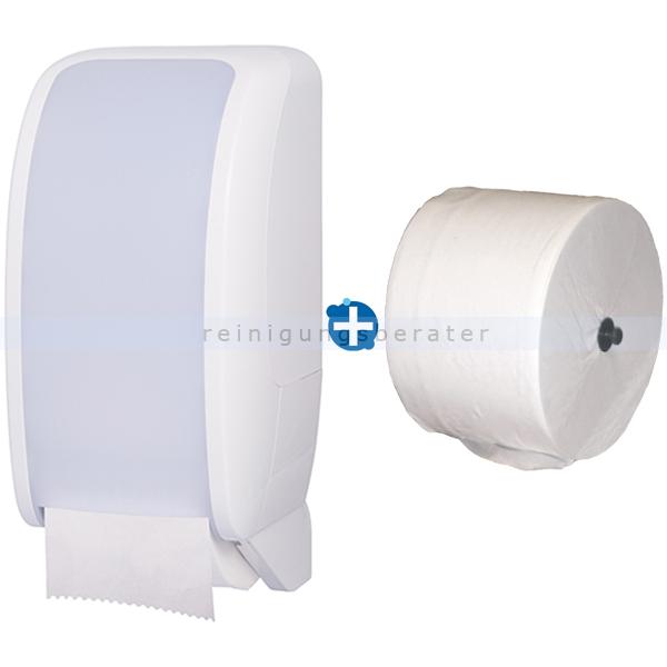 Toilettenrollenhalter JM Metzger Cosmos weiß im Set inklusive Toilettenpapier JM Metzger Cosmos 2-lagig 100 m COSMOS-2050