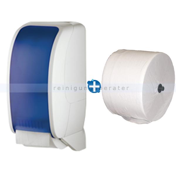 Toilettenrollenhalter JM Metzger Cosmos weiß/blau im Set inklusive Toilettenpapier JM Metzger Cosmos 2-lagig 100 m COSMOS-2200