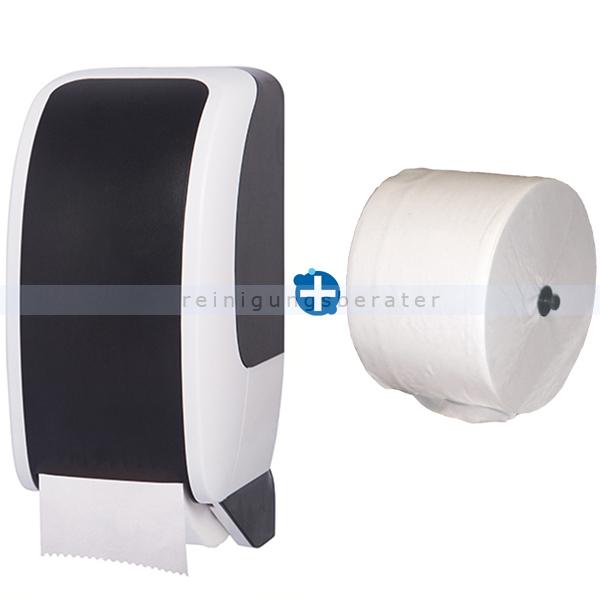 Toilettenrollenhalter JM Metzger Cosmos weiß/schwarz im Set inklusive Toilettenpapier JM Metzger Cosmos 2-lagig 100 m COSMOS-2150