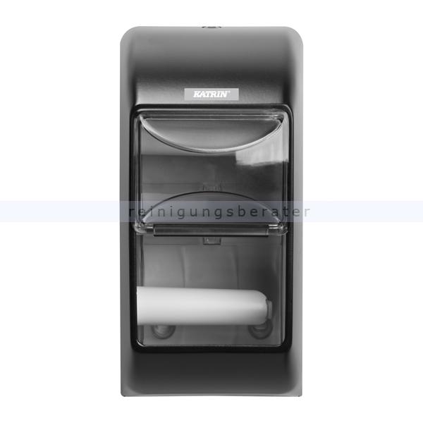 KATRIN Toilettenpapierspender 2-fach Kunststoff schwarz für 2 Toilettenpapierrollen gleichzeitig 104452
