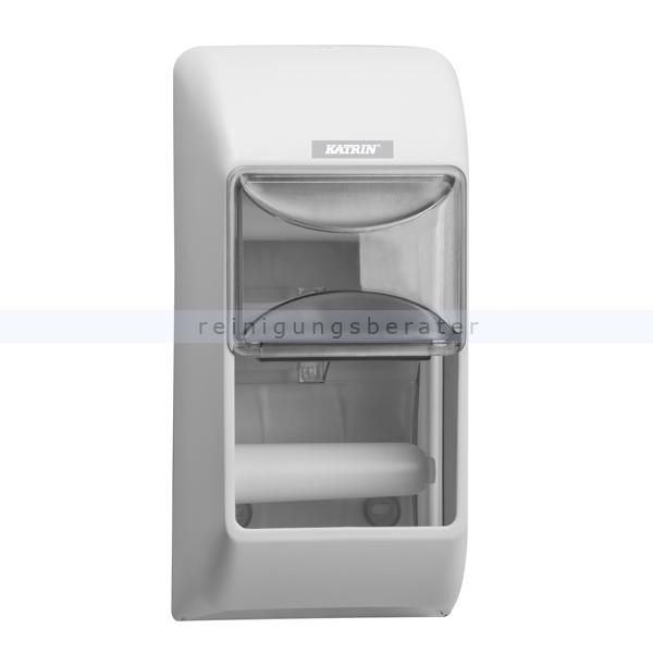 KATRIN Toilettenpapierspender 2-fach Kunststoff weiß für 2 Toilettenpapierrollen gleichzeitig 92384