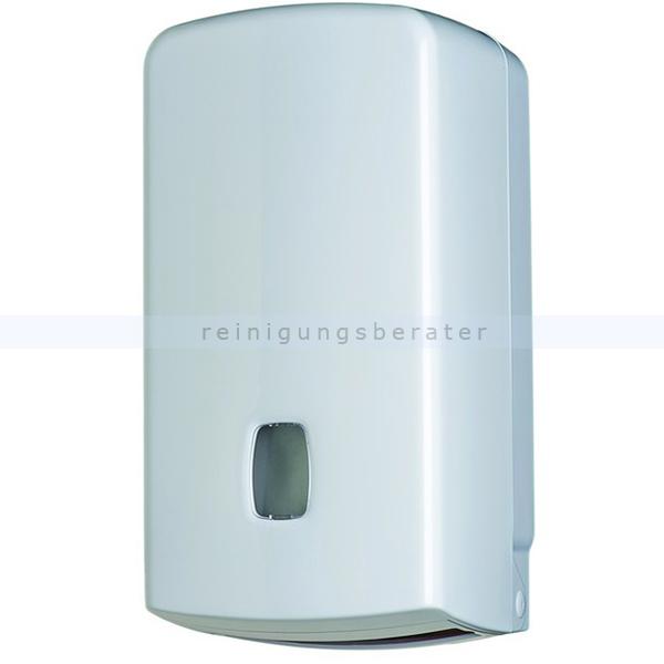 Toilettenpapierspender Orgavente BASICA ABS Einzelblatt weiß Einzelblattsystem für ca. 500 Blätter Toilettenpapier 104056