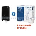 Toilettenpapierspender Set Tork MidiSpender u. Papier schwar