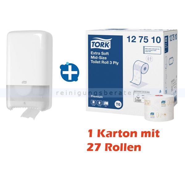 SCA Tork 32127510 Toilettenpapierspender Set MidiSpender, Papier Tork T6 Midi Spender u. ein Karton Toilettenpapier, 27 Stück