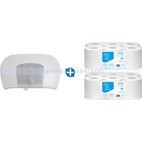 Toilettepapierspender Papernet TWIN Mini Jumbo im Set