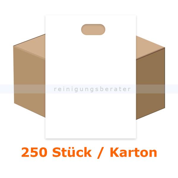 Tragetasche, Griffloch Tragetasche 250 Stück weiß