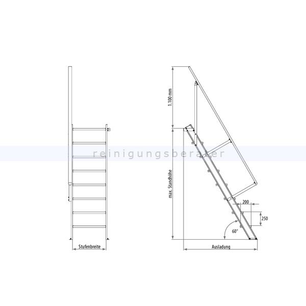 treppenleiter hymer station r ohne podest 6 stufen 600 mm 60. Black Bedroom Furniture Sets. Home Design Ideas