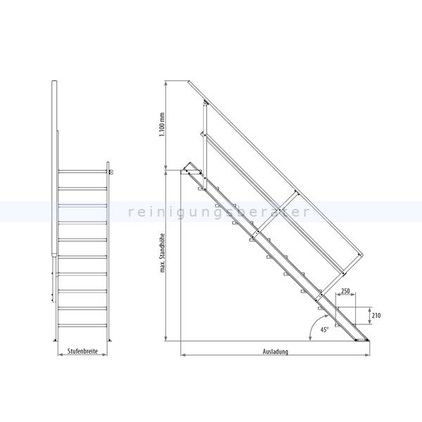 treppenleiter hymer station r ohne podest 7 stufen 800 mm 45. Black Bedroom Furniture Sets. Home Design Ideas