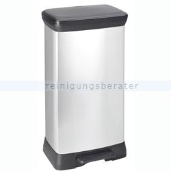 Treteimer Curver Decobin Tritt-Mülleimer silber-schwarz 50 L