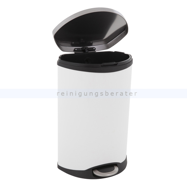 treteimer eko shell bin 50 l wei edelstahl matt. Black Bedroom Furniture Sets. Home Design Ideas
