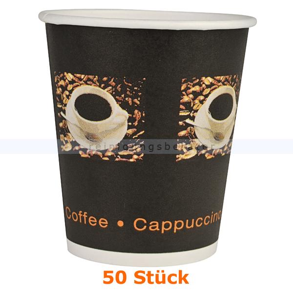 abenagastroline Trinkbecher, Kaffeebecher Beans klein 0,24 L 50 Stück Einwegbecher für Heißgetränke 131623